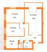 3-комнатная, улица Лазо 31. Железнодорожный, агентство, 84,0кв.м.