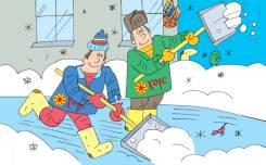 Уборка снега, с лопатами, вывоз снега