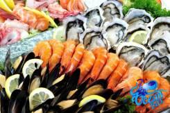 Вкусные свежие морепродукты