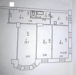 3-комнатная, улица Пионерская 70. Центральный, агентство, 77,0кв.м.
