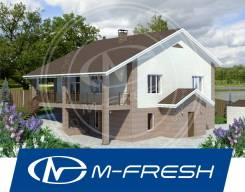 M-fresh Prometey (Свежий проект интересного дома с цоколем и террасой). 300-400 кв. м., 2 этажа, 5 комнат, бетон