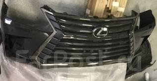 Передний бампер с решеткой LX570 Black Vision чёрный оригинал 2019