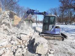 Демонтаж зданий, домов, вывоз мусора, корчевание, услуги спецтехники