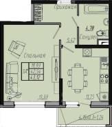 1-комнатная, улица Стахановская 1. 9 километр, частное лицо, 43,1кв.м.