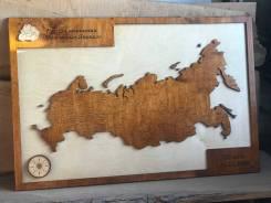 Карта России из дерева на стену 80*60 см. Корпоративный сувенир. Под заказ