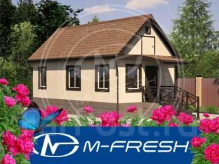 M-fresh Istochnik (Готовый проект маленького дачного каркасного дома). до 100 кв. м., 1 этаж, 3 комнаты, каркас