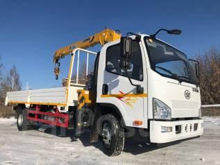FAW. Бортовой грузовик c КМУ XCMG SQS68-3, 4 087куб. см., 3 640кг., 4x2
