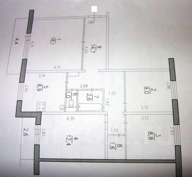 4-комнатная, улица Комсомольская 75. Центральный, агентство, 77,0кв.м.