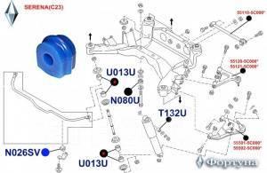 Фортуна N026SV Втулка стабилизатора, задней подвески, I. D-16мм