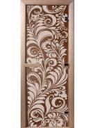 "Дверь для бани стеклянная ""Хохлома"" (бронза матовая) 1900*700 мм"