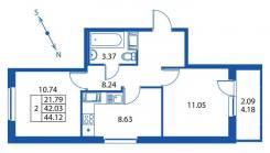2-комнатная, бульвар Воронцовский 14 кор. 1. Мурино, частное лицо, 45,0кв.м.