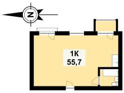 1-комнатная, улица Бринера 46 стр. 1. Весенняя, проверенное агентство, 55,7кв.м. План квартиры