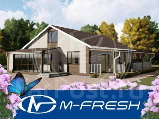 M-fresh Avgustin /Готовый проект одноэтажного дома из бруса с террасой. 100-200 кв. м., 1 этаж, 4 комнаты, дерево