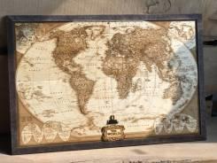 Карта из дерева, карта мира. Подарок руководителю, начальнику, мужчине. Под заказ