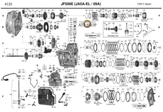АКПП JF506E в разборе Автомат JA5A-EL Mazda