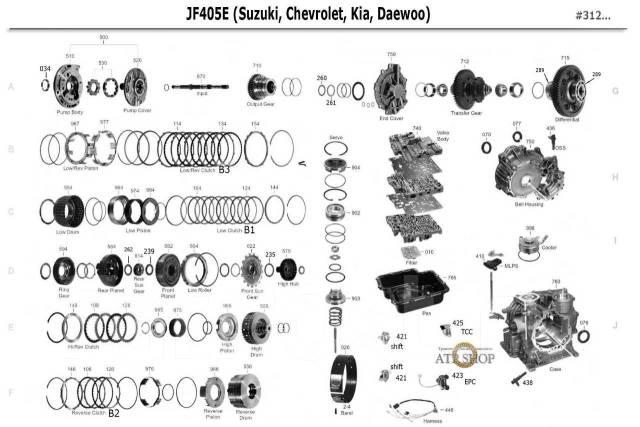 АКПП JF405E в разборе Автомат JF405 Kia Chevrolet