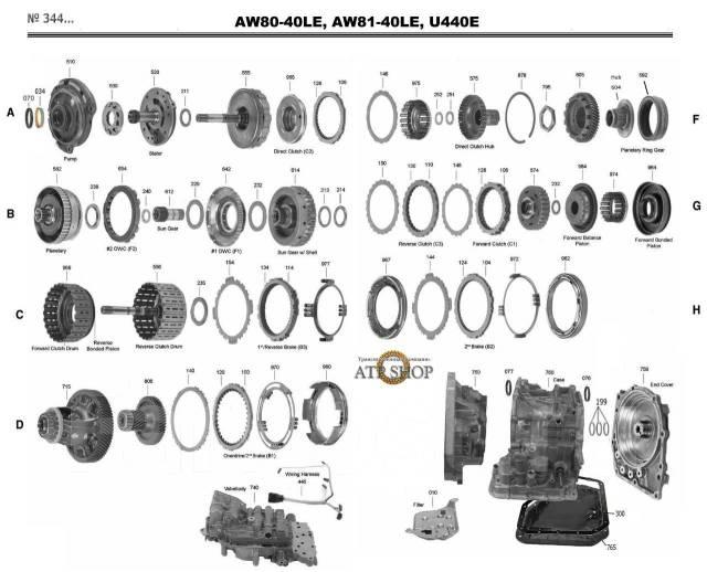 АКПП U440 в разборе Автомат Suzuki Chevrole AW8040