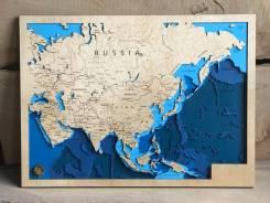 Карта из дерева, карта глубин, карта мира. Подарок другу, начальнику. Под заказ
