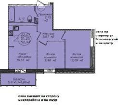 2-комнатная, переулок Фабричный 3. Индустриальный, агентство, 53,4кв.м. План квартиры