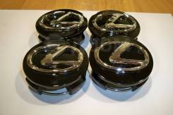 Колпачки диска ЦО (заглушка диска) центрального отверстия Lexus 62мм чёрный фон + 3D хром значок