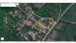 Участок с шикарным видом и адресом для регистраци в ДНТ «Кварц». 1 000кв.м., собственность, электричество, вода. План (чертёж, схема) участка