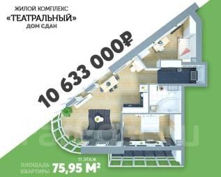 3-комнатная, улица Фастовская 29. Чуркин, застройщик, 76,0кв.м. План квартиры