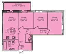 3-комнатная, переулок Фабричный 3. Индустриальный, агентство, 71,9кв.м.