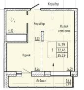 1-комнатная, улица Краснореченская 223/1. Индустриальный, частное лицо, 38,0кв.м.