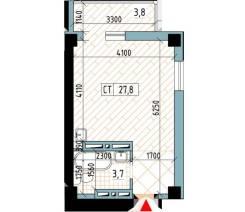 1-комнатная, улица Нейбута 81а стр. 3. 64, 71 микрорайоны, проверенное агентство, 27,8кв.м. План квартиры
