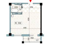 1-комнатная, улица Нейбута 81а стр. 3. 64, 71 микрорайоны, проверенное агентство, 39,8кв.м. План квартиры