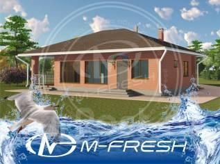 M-fresh Logovo (Проект каменного дома с надежными фасадами из кирпича). 100-200 кв. м., 1 этаж, 4 комнаты, кирпич
