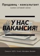 """Продавец-консультант. ООО """"Мобильная Область"""". Камень-Рыболов, улица Кирова 1"""