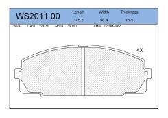 Колодки тормозные дисковые передние WS201100 04465-26090