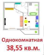 1-комнатная, улица Панфиловцев 30 стр. 2. Индустриальный, застройщик, 38,6кв.м.