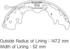 Колодки барабанные з. Hyundai H1/ Grand Starex 2.4/2.5/2.5CRDi 07 Sangsin Brake SA141 SA141SNS_ 583054HA00