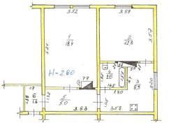 2-комнатная, улица Карла Маркса 132а. Железнодорожный, частное лицо, 48,7кв.м. План квартиры