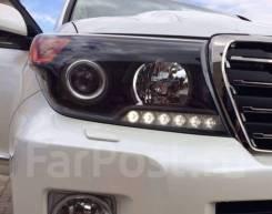 """Фары на Land Cruiser 200 2008-2015 год """"brown stone"""" (black style)"""