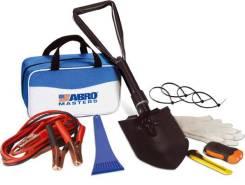 Набор автомобилиста ABRO - Пусковые провода (200А), складная лопата, светодиодный динамо-фонарь, хомуты, скребок для удаления льда, перчатки, нож. [TK...