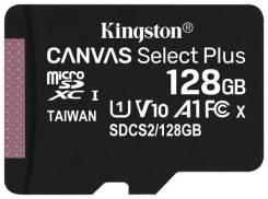 Карта памяти 128Gb microSDXC Kingston Canvas Select Plus Class 10 UHS Class 1