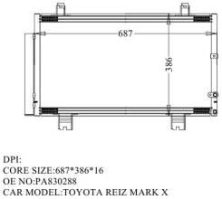 Радиатор кондиционера Toyota MARK X, Lexus GS460 ( арт. HR0239-K ) 88460-0P020