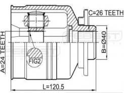 Шрус внутренний левый 24x40x26 (kia sportage 1998-2003) Febest 2211SPLH Hyundai / Kia (Mobis): 0K01222620A #0K01225600D Kia Retona (Ce). Kia Sportage