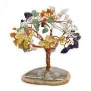 Дерево счастья на срезе агата с самоцветами 65*40*100мм,