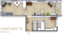 2-комнатная, улица Поселковая 1-я 25. Чуркин, проверенное агентство, 46,3кв.м. План квартиры