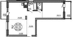 2-комнатная, улица Пионерская 1/2. Индустриальный, застройщик, 65,0кв.м.