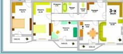 3-комнатная, улица Панфиловцев 30 стр. 1. Индустриальный, агентство, 83,0кв.м.