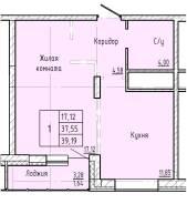 1-комнатная, улица Краснореченская 223/1. Индустриальный, частное лицо, 41,0кв.м.