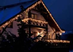 Новогодняя подсветка дома гирляндой