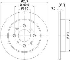 Диск тормозной | зад Nisshinbo ND8033K ND8033K
