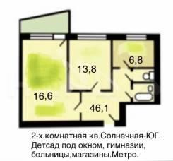 2-комнатная, улица Елецкая 22/25. Орехово-Борисово Южное, частное лицо, 46,1кв.м.