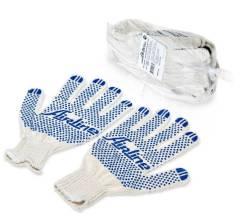 Перчатки ХБ с ПВХ покрытием, белые, (5 пар), 150Т/7,5 класс AIRLINE 'AWGC01